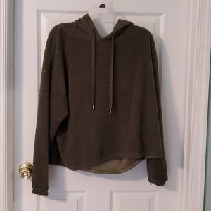 Cozy fuzzy green hooded sweatshirt
